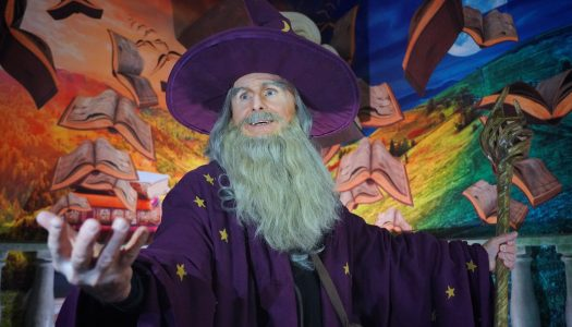'Great Wizard' meets workers at the Gardaland Magic Hotel in Italy