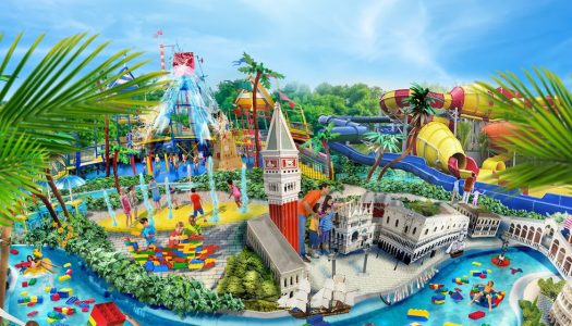 Legoland Water Park at Gardaland's gateway to resemble a huge Lego wave