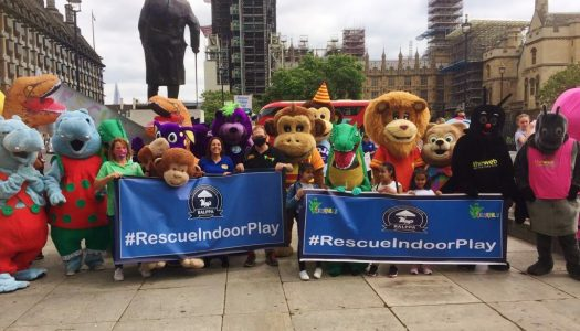 Mascots descend on Westminster in bid to save indoor play centres